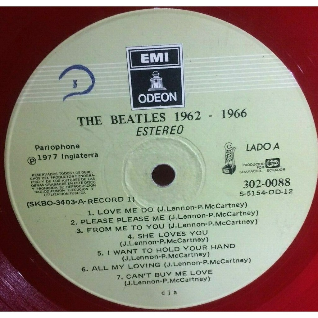 The Beatles 1962-1966 (Ecuador 1977 original & genuine Ltd 26-trk 2LP RED wax on Odeon lbl full gf ps)