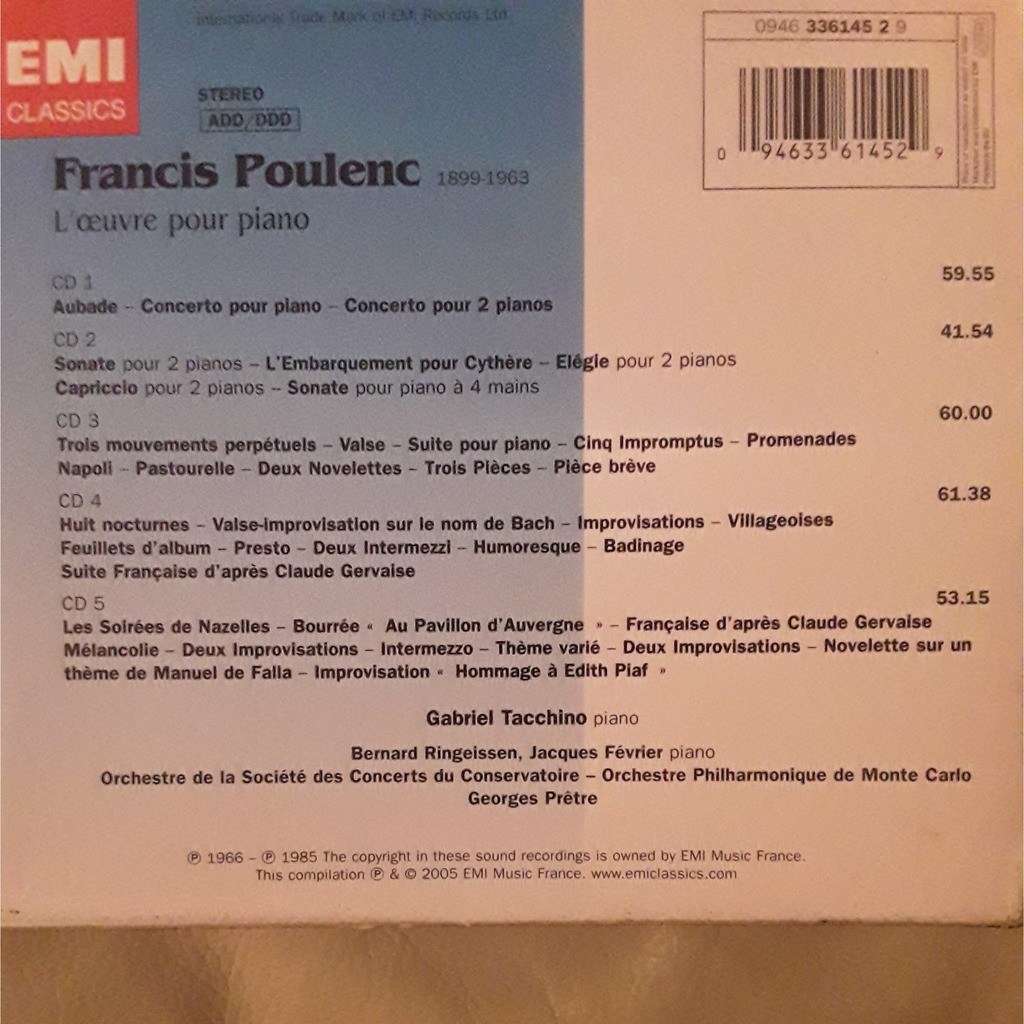 Pretre - Gabriel Tacchino - Fevrier - Ringeissen Poulenc - L' oeuvre pour piano