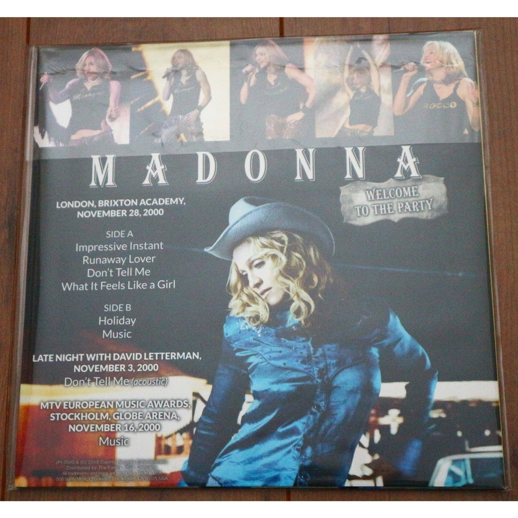 Madonna Welcome To The Party (London Brixton Academy 28.11.2000 etc.) (Ltd 200 No'd copies GREEN wax)