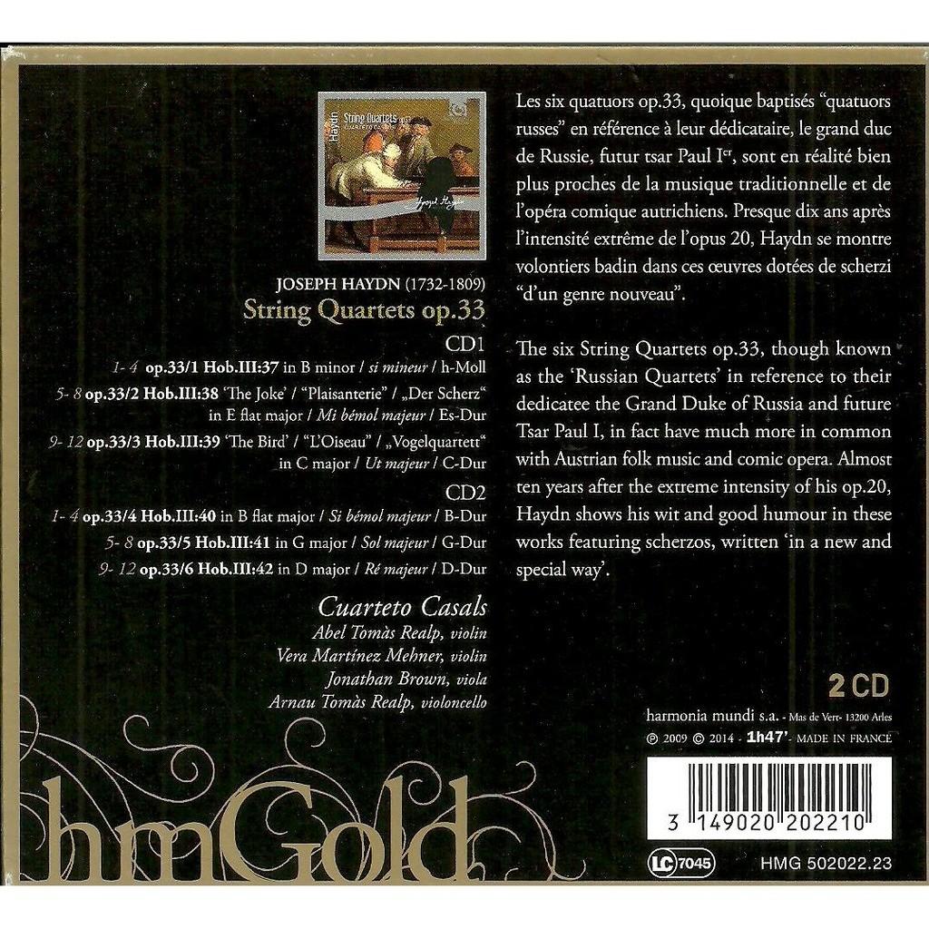 joseph haydn string quartets op.33 / cuarteto casals