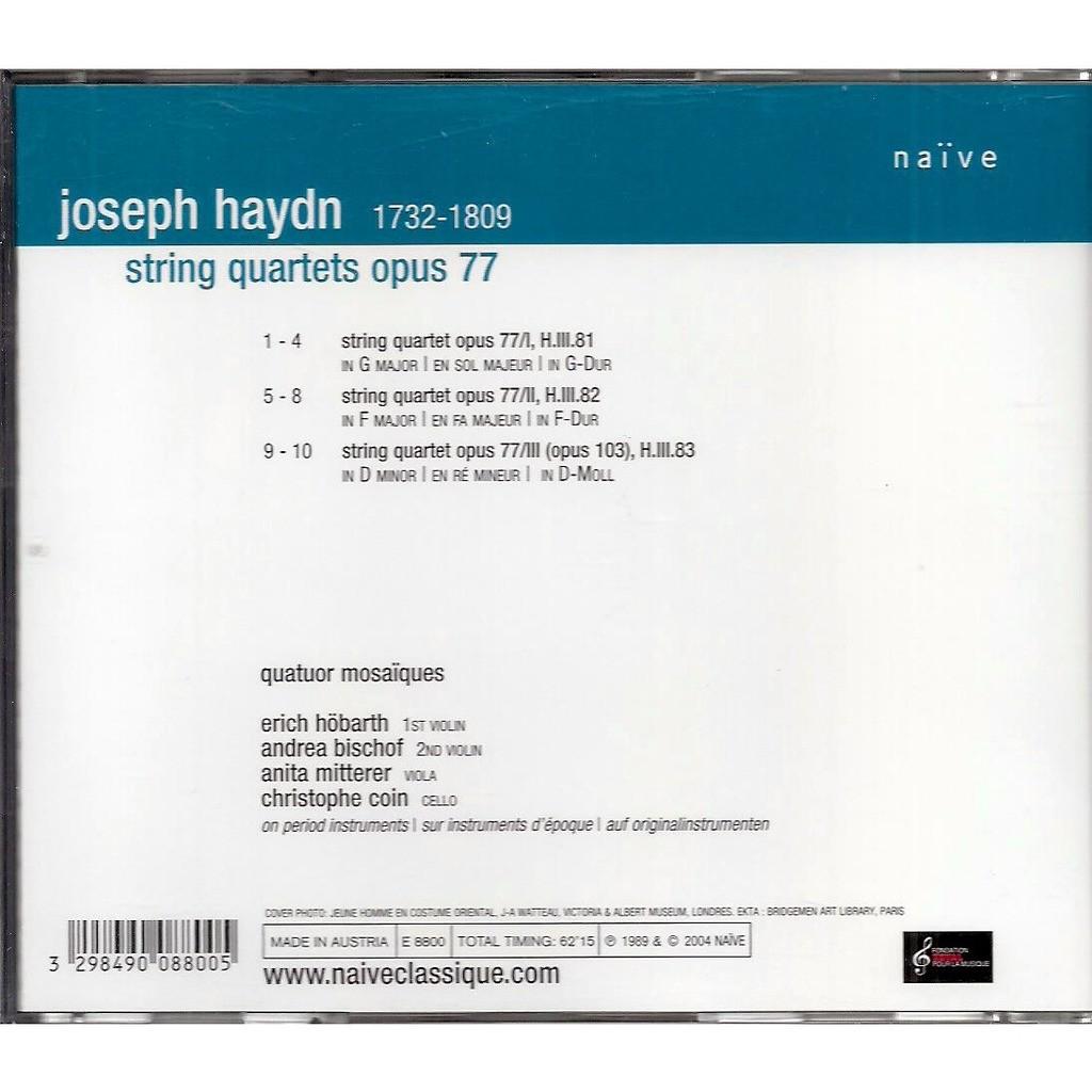 joseph haydn string quartets op 77 / quatuor mosaïques
