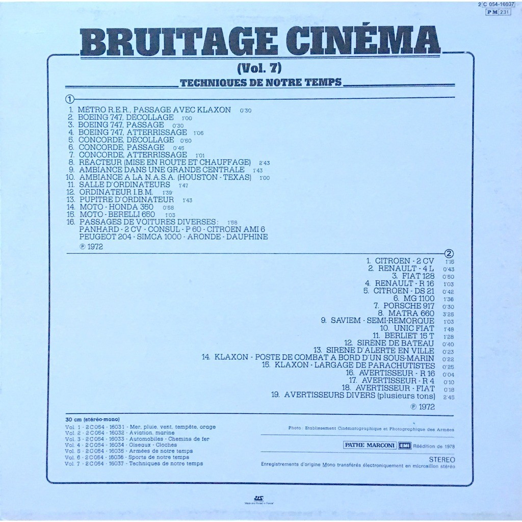 NO ARTISTS - BRUITAGES CINEMA / TECHNIQUES DE NOTR (FR. PRESSING 12 VINYL LP)
