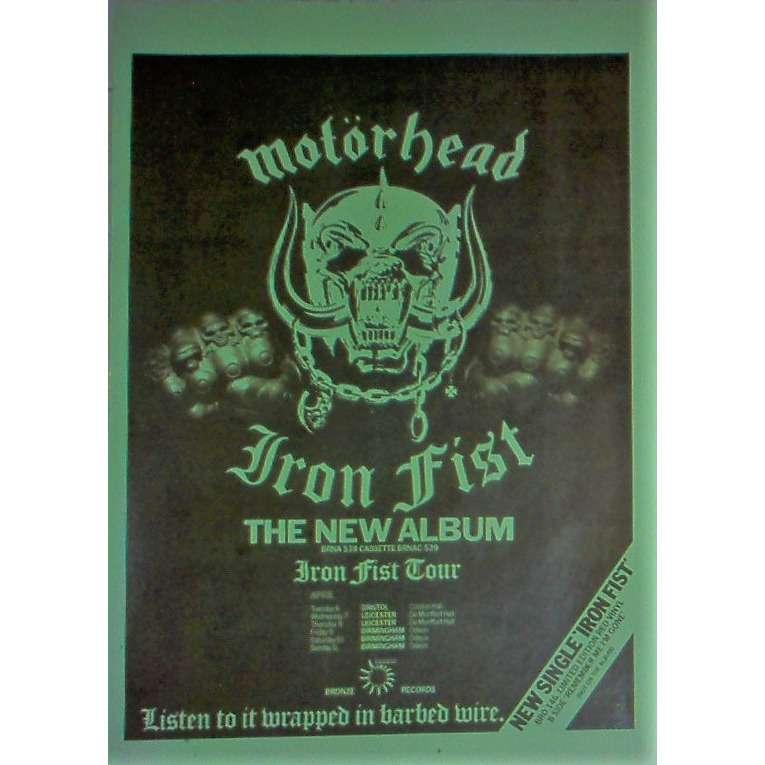 Motorhead Iron First UK Tour 1982 (UK 1982 original promo tour & album release poster!!)