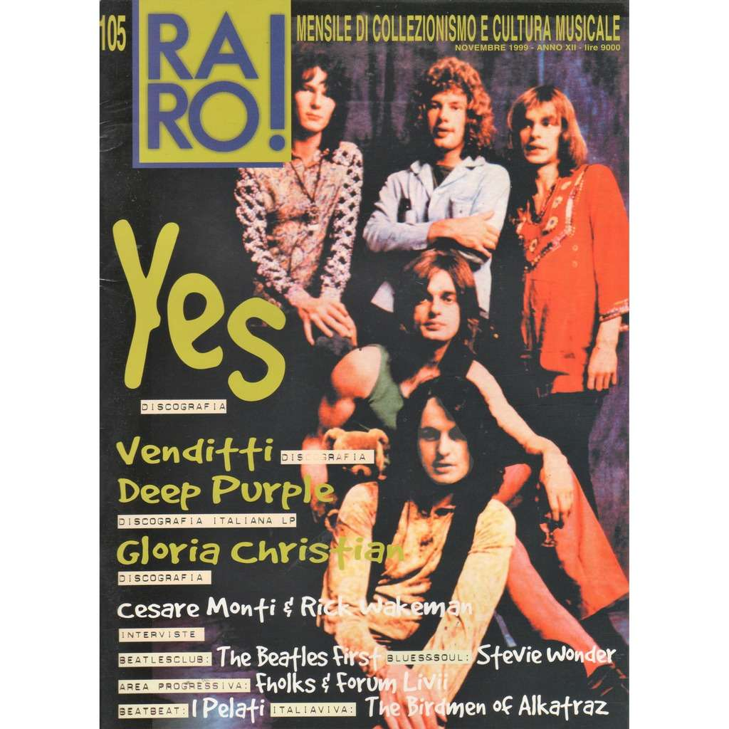 YES RARO! (N.105 Nov. 1999) (Italian 1999 YES front cover collector's music magazine!!)