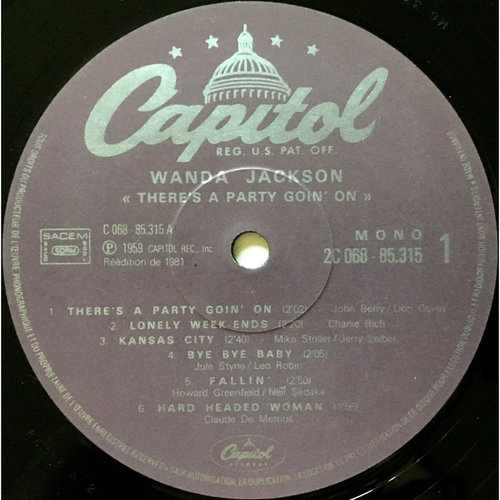 WANDA JACKSON - THERE'S A PARTY GOIN' ON (FR. PRESSING 12 VINYL LP)