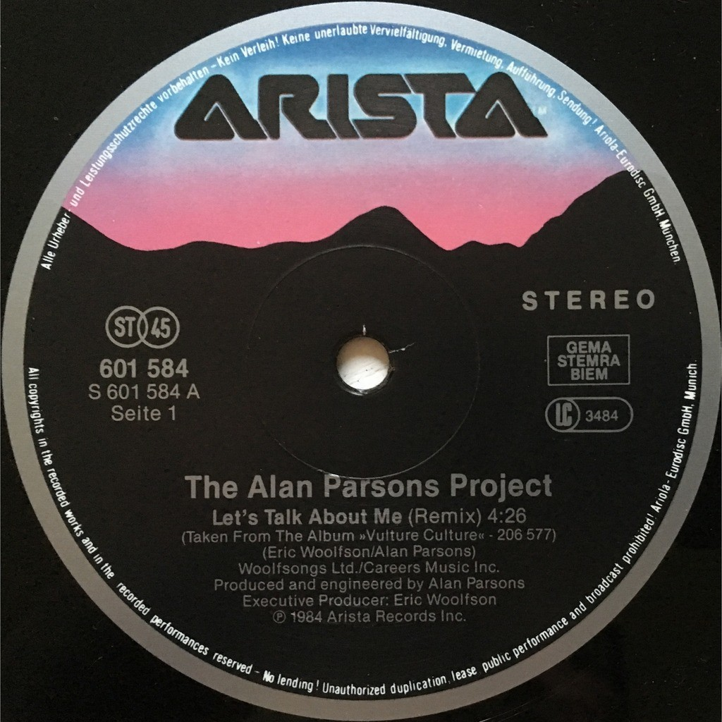THE ALAN PARSONS PROJECT - LET'S TALK ABOUT ME (GER. PRESSING 3 TRK 12 MAXI-SINGLE)