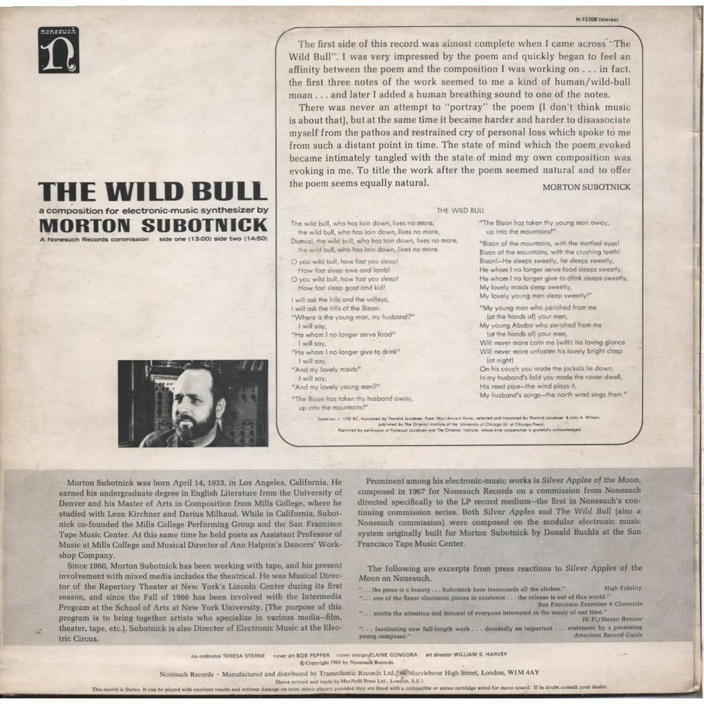 MORTON SUBOTNICK the wild bull
