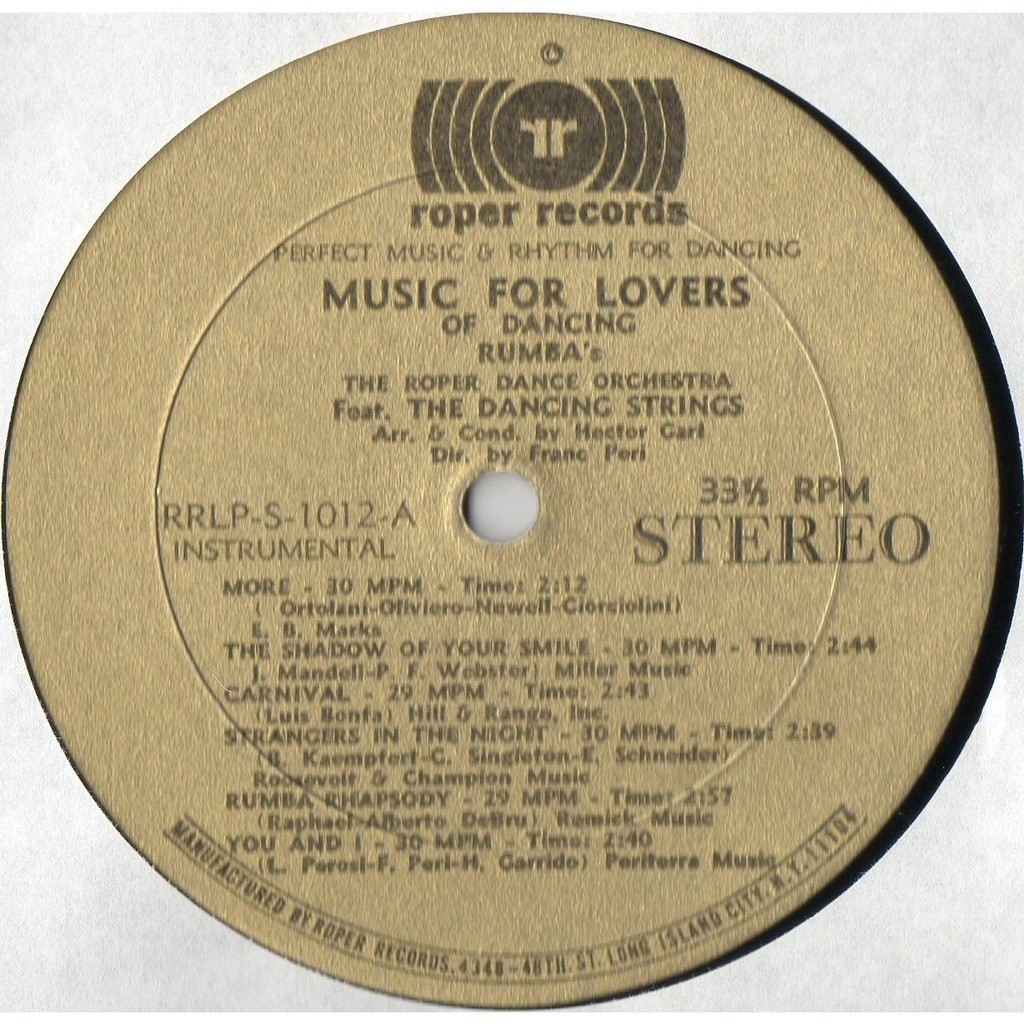THE ROPER DANCE ORCHESTRA music for lovers and dancing - the