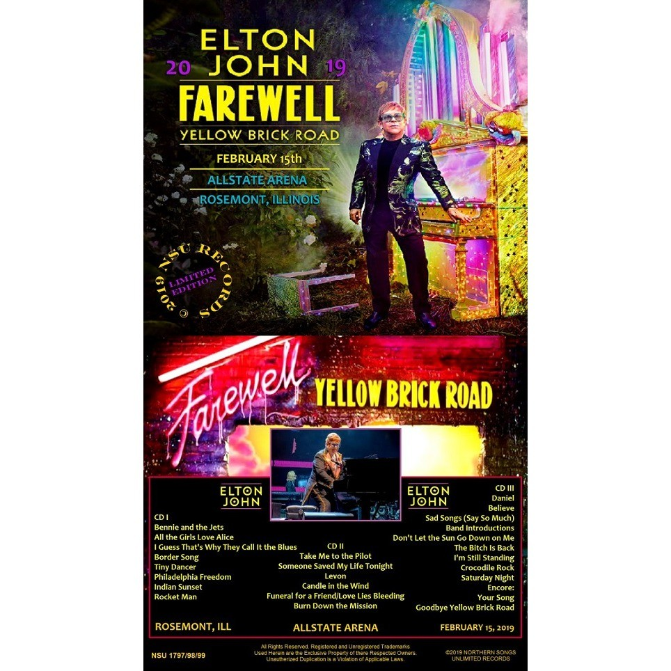 ELTON JOHN LIVE FAREWELL ROSEMONT ILLINOIS 2019 FEBRUARY 15th LTD 3 CD