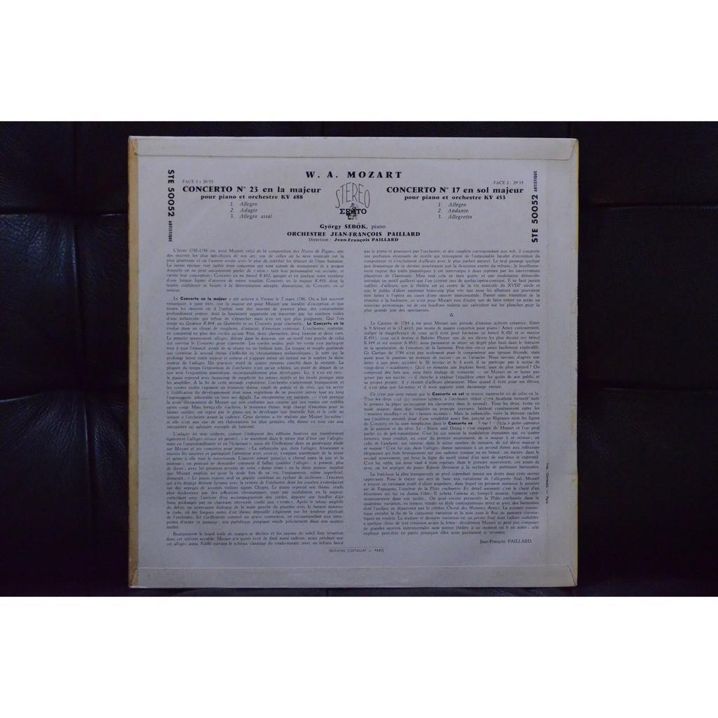 W. A . MOZART gyorgy sebok jf paillard ; concertos pour piano et orchestre
