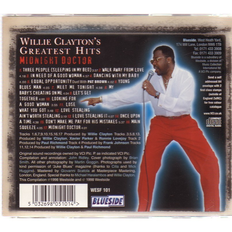 WILLIE CLAYTON'S GREATEST HITS MIDNIGHT DOCTOR
