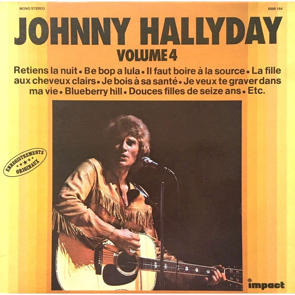 JOHNNY HALLYDAY - VOLUME 4 (IT. PRESSING 12 VINYL LP MONO-STETEO RED IMPACT LBL)