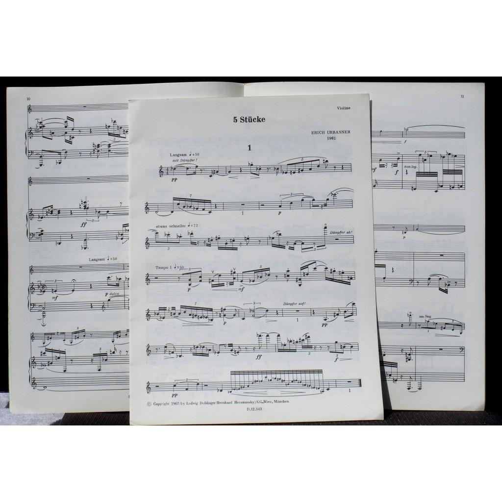 Partition / Score Erich Urbanner 5 Stücke Partition / Score Erich Urbanner 5 Stücke Doblinger 1967