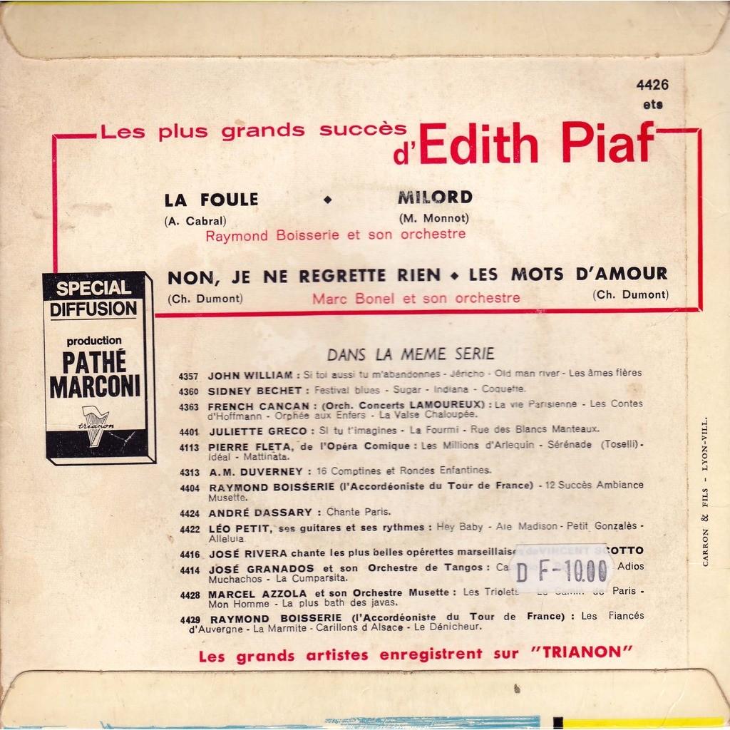 raymond boisserie & marc bonel et son orchestre les plus grands succés d'edith piaf : la foule - milord / non je ne regrette rien - les mots d'amour