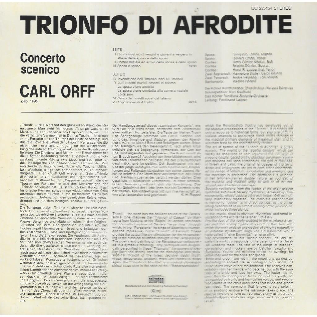 Ferdinand LEITNER chef d'orchestre Carl ORFF Trionfo Di Afrodite