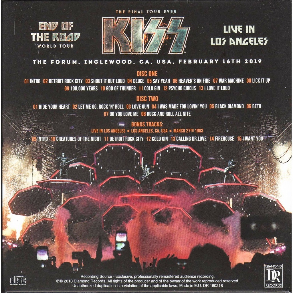 KISS Live in Los Angeles (The Forum Inglewood CA USA 16.02.2019 etc.)
