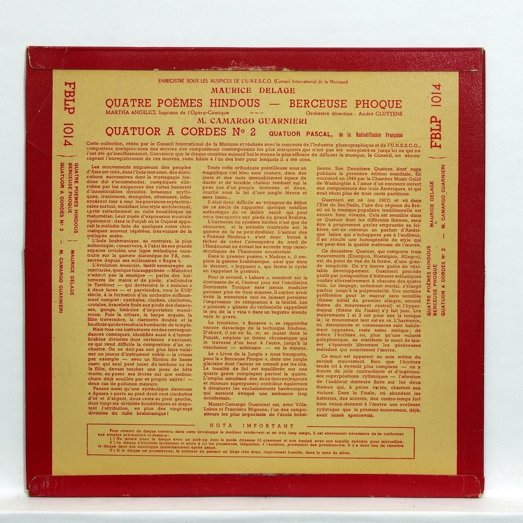 Maurice Delage 4 Poèmes Hindous Berceuse Phoque By Quatuor Pascal Andre Cluytens 10inch With Elyseeclassic