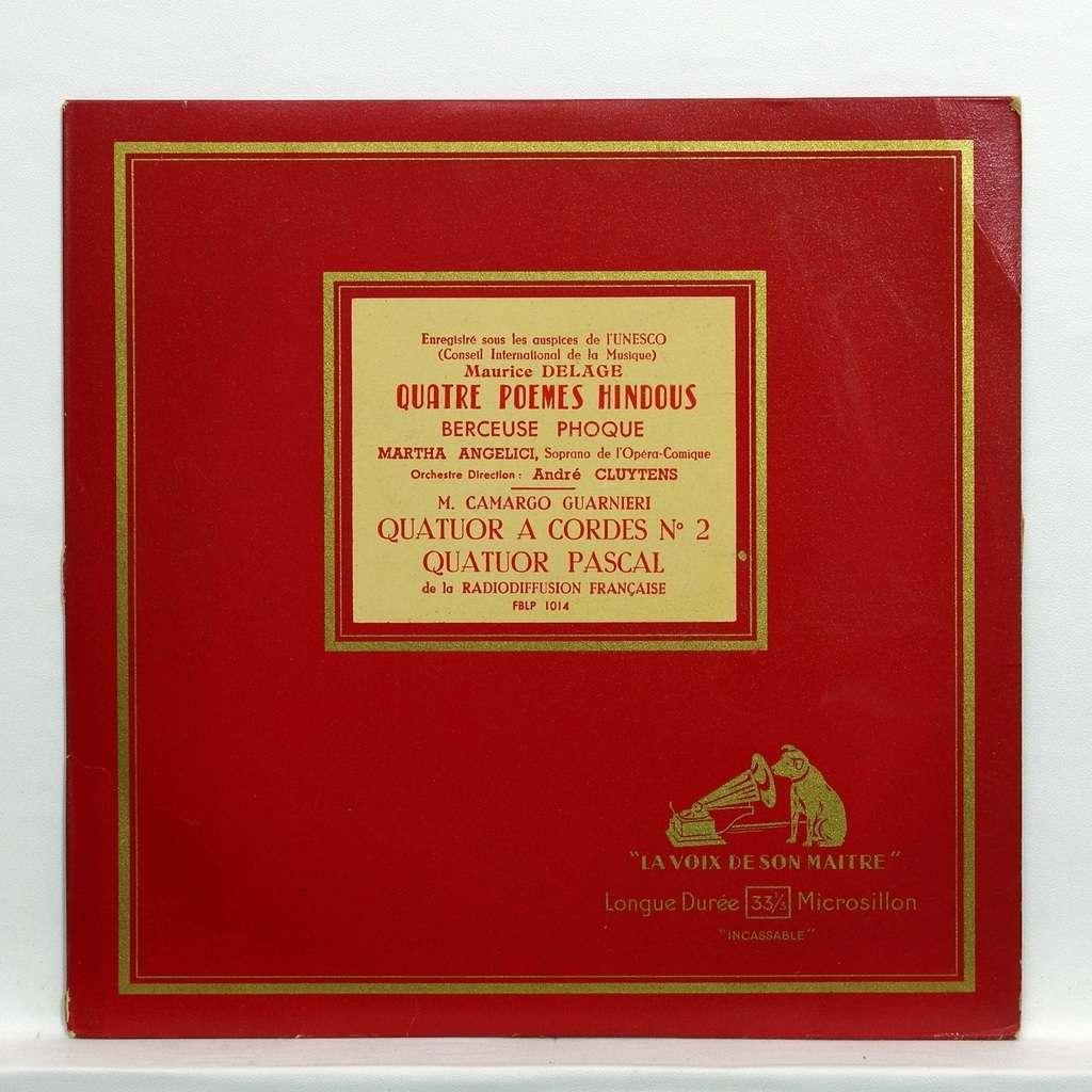 Quatuor Pascal Andre Cluytens Maurice Delage 4 Poèmes Hindous Berceuse Phoque