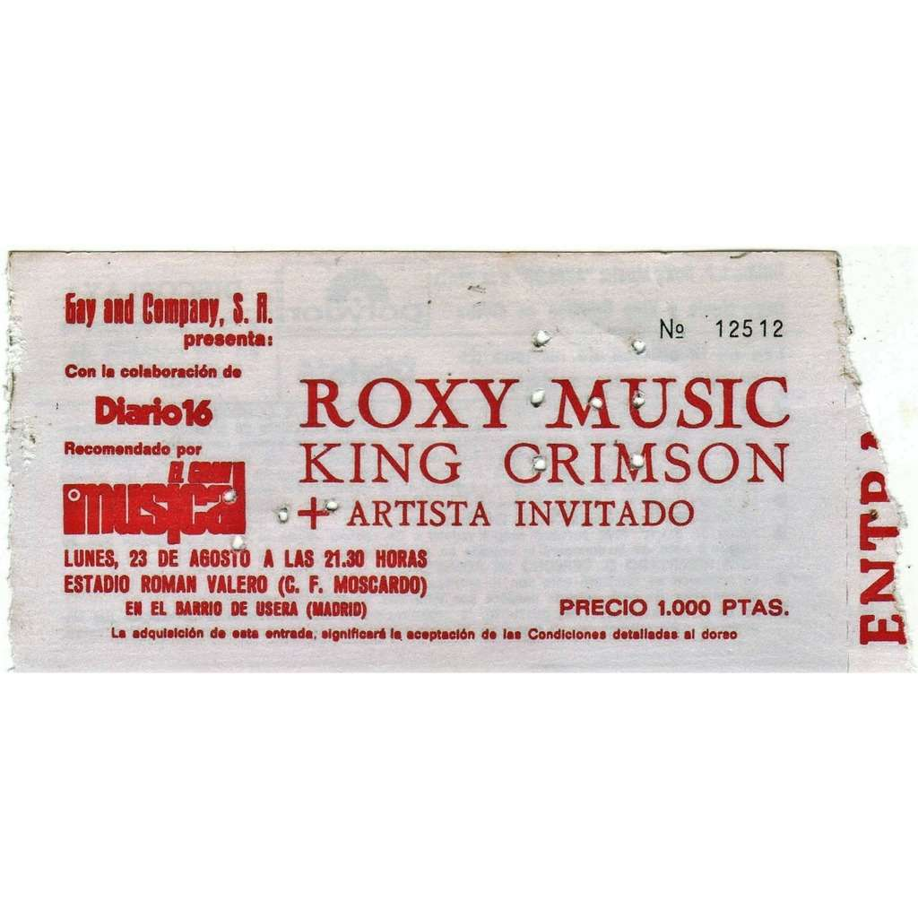 Roxy Music / King Crimson Madrid Estadio Roman valero 23.08.1982 (Spanish 1982 original concert ticket!!)