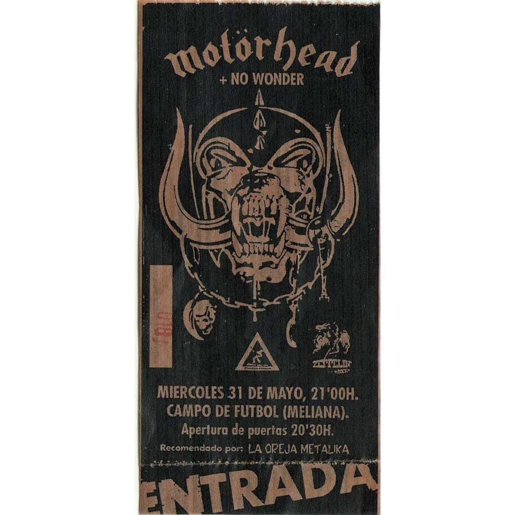 Motorhead: Meliana - Valencia 31.05.1994 (Spanish 1994 original concert ticket!!)