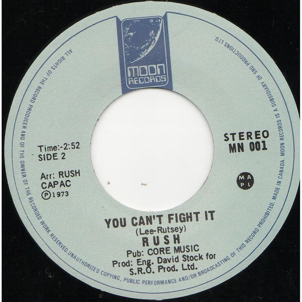 RUSH Not fade away (canada 1973 ltd 100 copies re 2-trk 7single black wax on moon lbl)