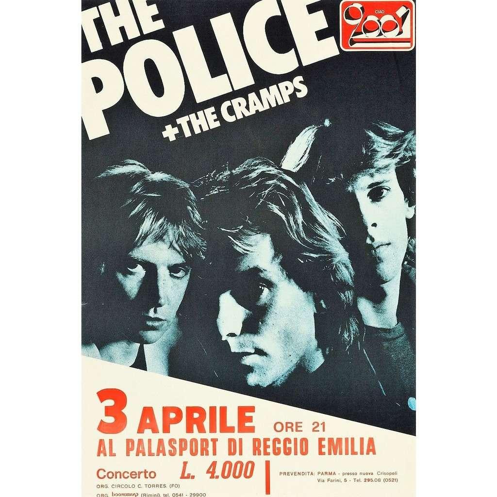 The Police / Sting / Cramps Palasport Reggio Emilia 03.04.1980 (Italian 1980 original promo concert flyer!!)