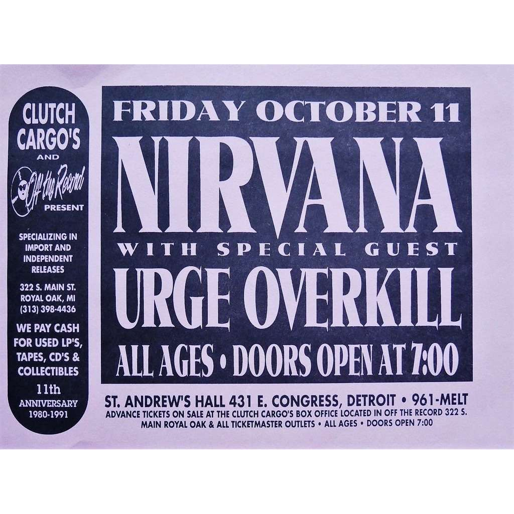 Nirvana / Urge Overkill Saint Andrew's Hall, Detroit 11.10.1991 (USA 1991 original promo concert flyer!!)