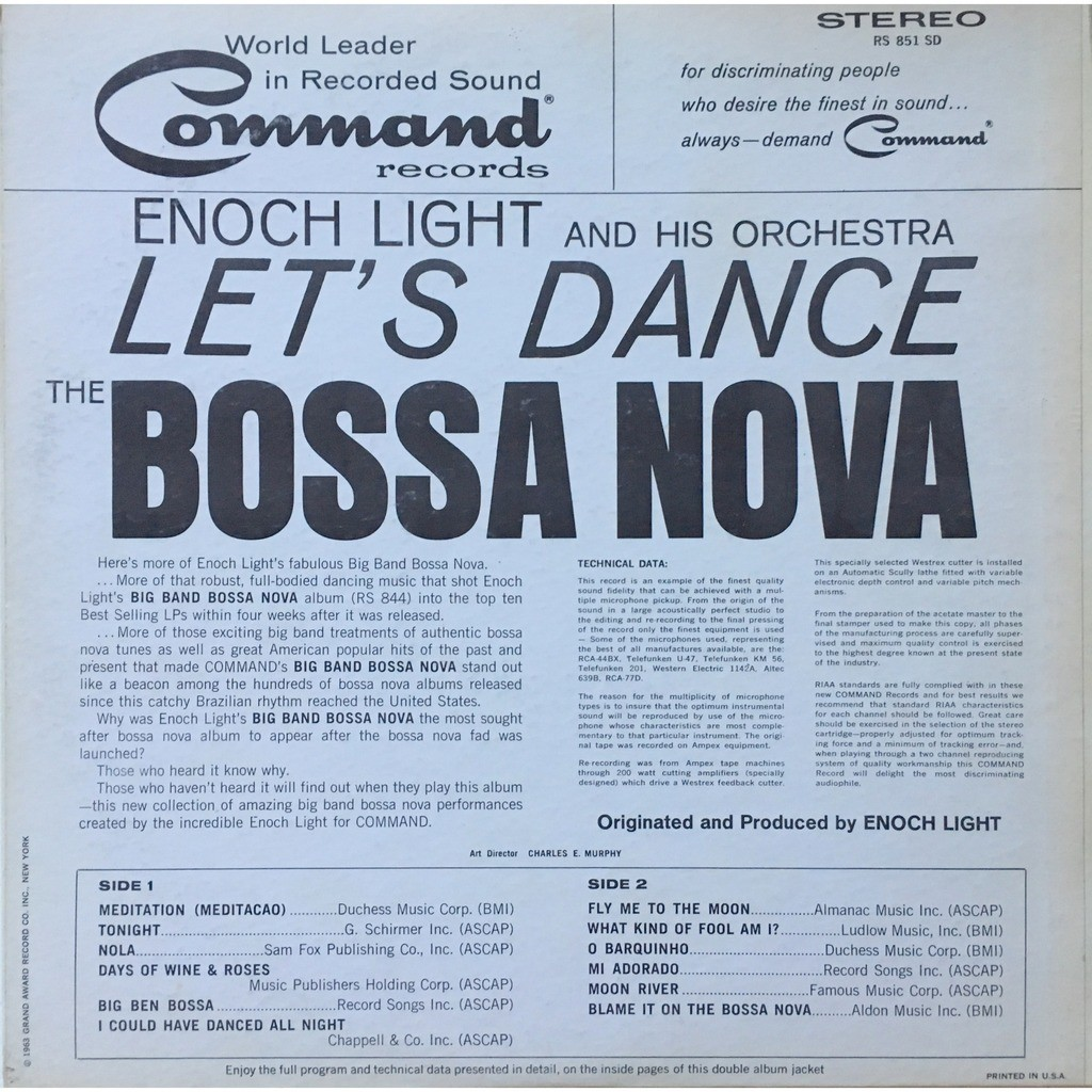 ENOCH LIGHT AND HIS ORCHESTRA - LET'S DANCE BOSSA (U.S. PRESSING 12 VINYL LP + INSERT)