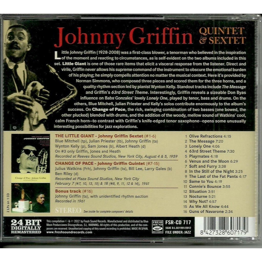 johnny griffin quintet & sextet the little giant + change of pace