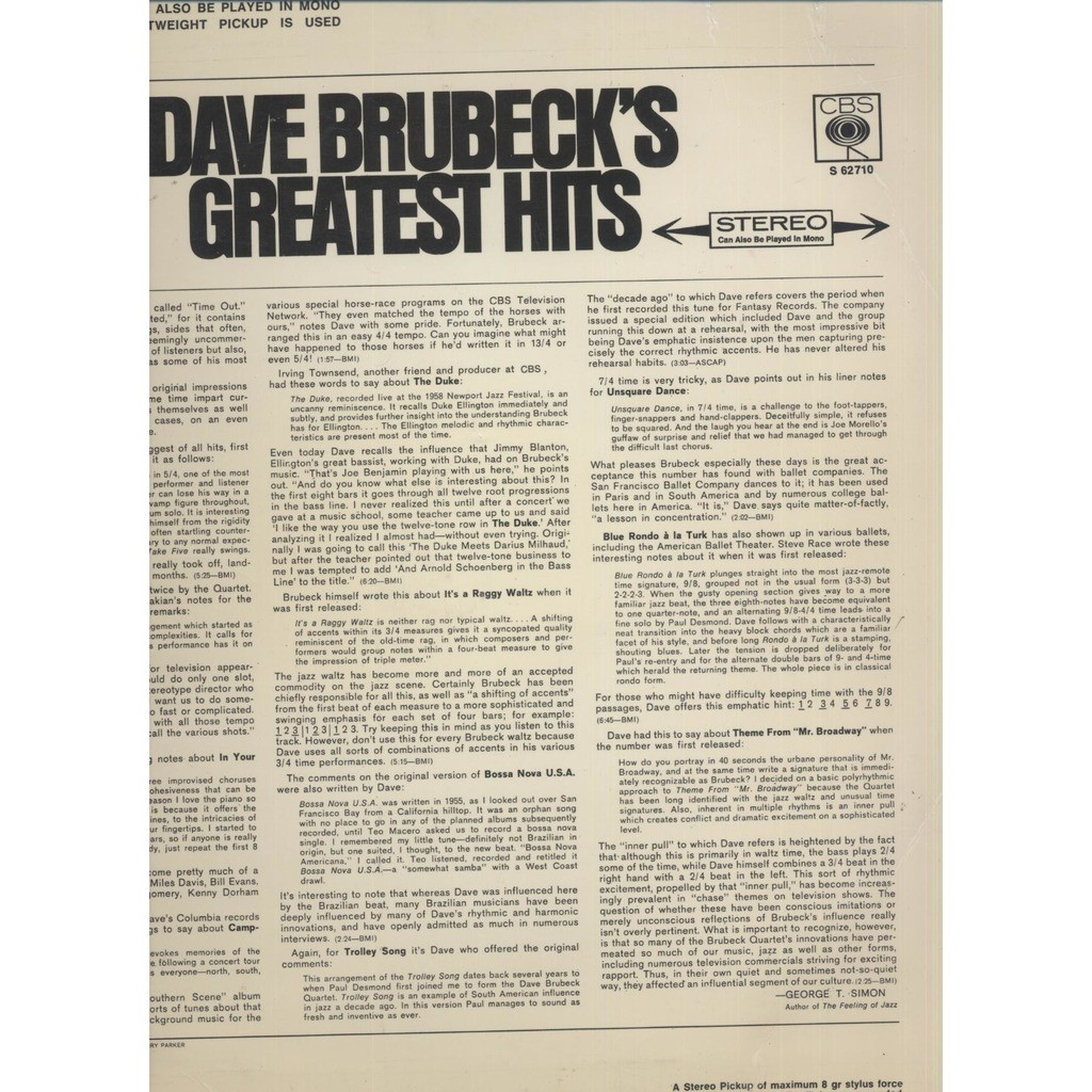 Dave Brubeck Dave Brubeck's Greatest Hits (11 tracks )