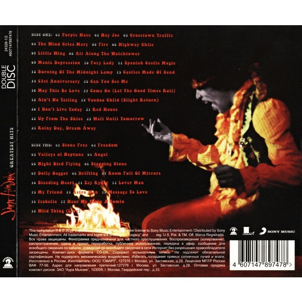 Jimi Hendrix Greatest Hits (2010) 2CD Digipak - New and Factory Sealed