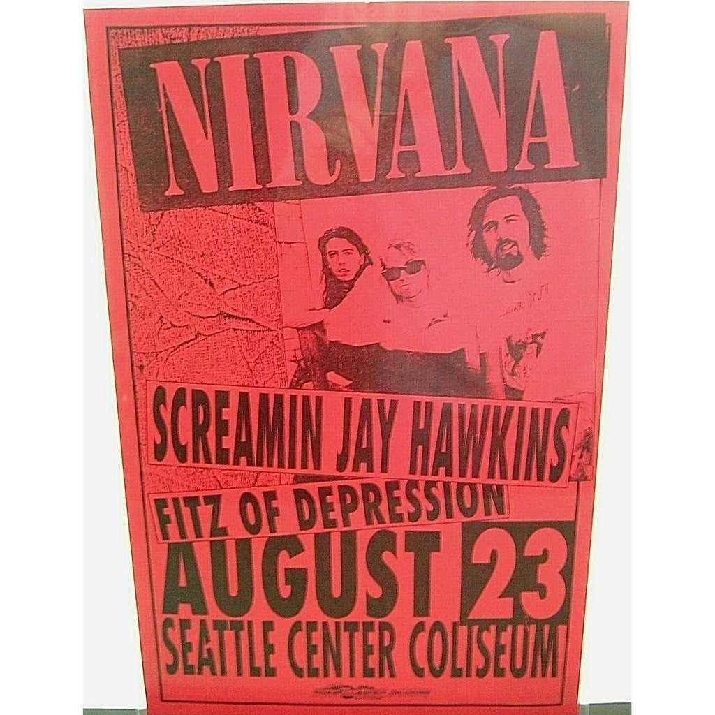 Nirvana Seattle Center Coliseum 23.08.1992 (USA 1992 original promo concert poster flyer!!)