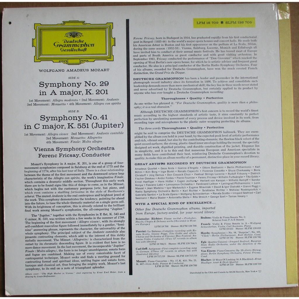 FERENC FRICSAY Mozart Symphonies 29 & 41 GERMANY DGG RED ST 1st SLPM 138 709 MINT