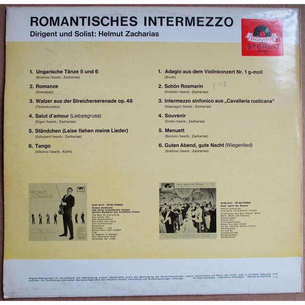 HELMUT ZACHARIAS Romantisches Intermezzo GERMANY POLYDOR 237 335 NM