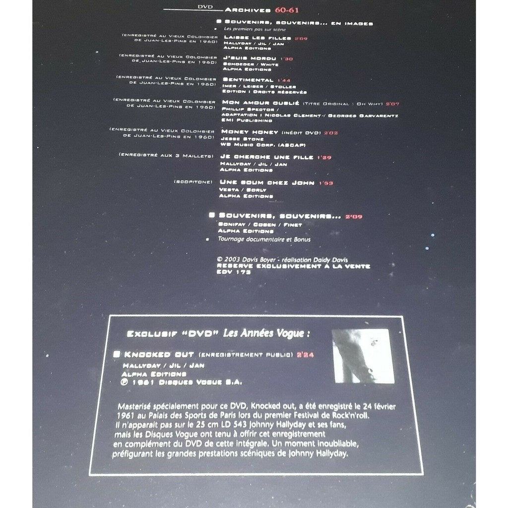JOHNNY HALLYDAY JOHNNY HALLYDAY DVD ARCHIVES 60/61 LES ANNEES VOGUE FORMAT 33 TOURS