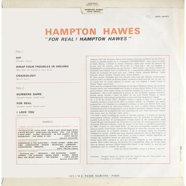 HAMPTON HAWES quartet feturing SCOTT LA FARIO FOR REAL