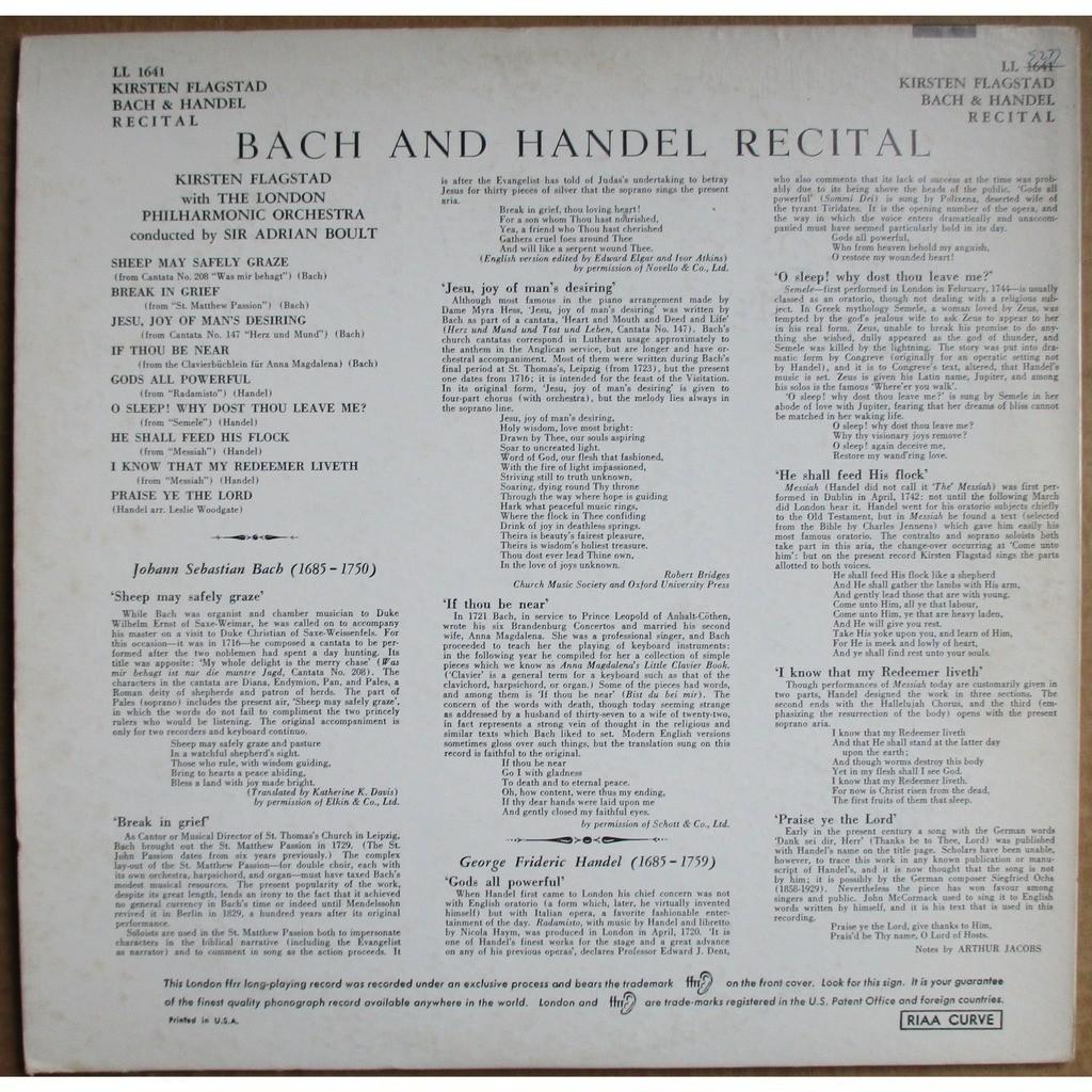 KIRSTEN FLAGSTAD Bach and Handel Recital BOULT UK LONDON ffrr LL 1641 EX