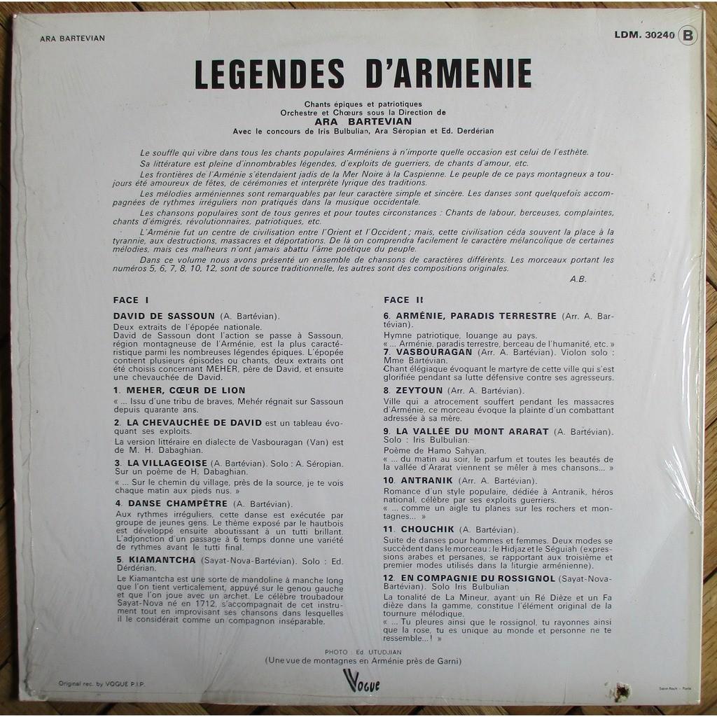 ARA BARTEVIAN Legendes d'Armenie Chants Epiques et Patriotiques FRANCE VOGUE LDM 30240 MINT