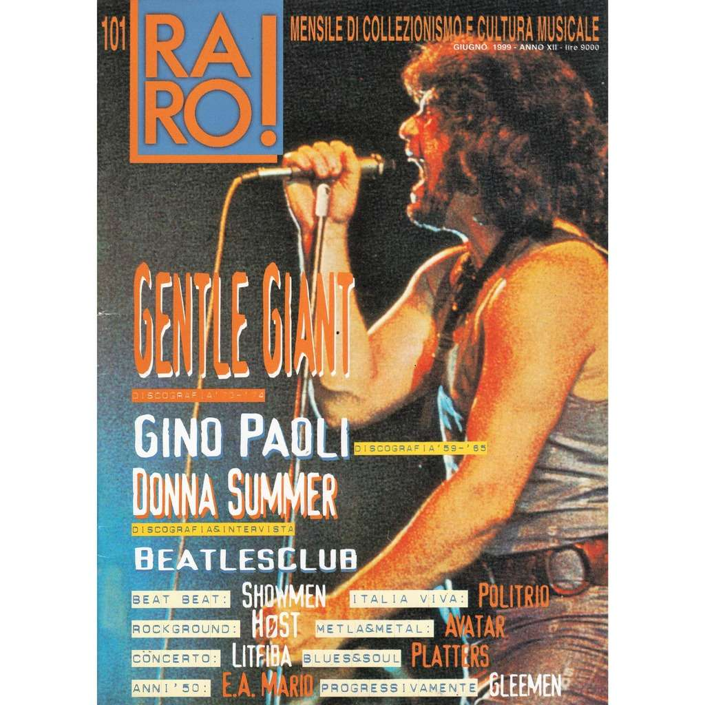 Gentle Giant RARO! (N.101 June 1999) (Italian 1999 Gentle Giant front cover collector's magazine!)
