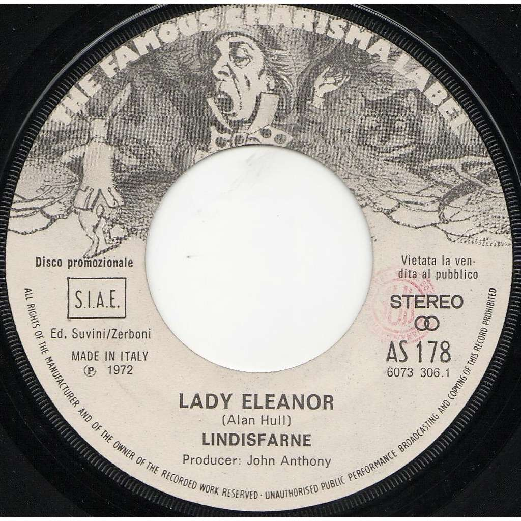 Lindisfarne Lady Eleanor (Italian 1972 original 1-trk w/label 7single promo on Charisma lbl)