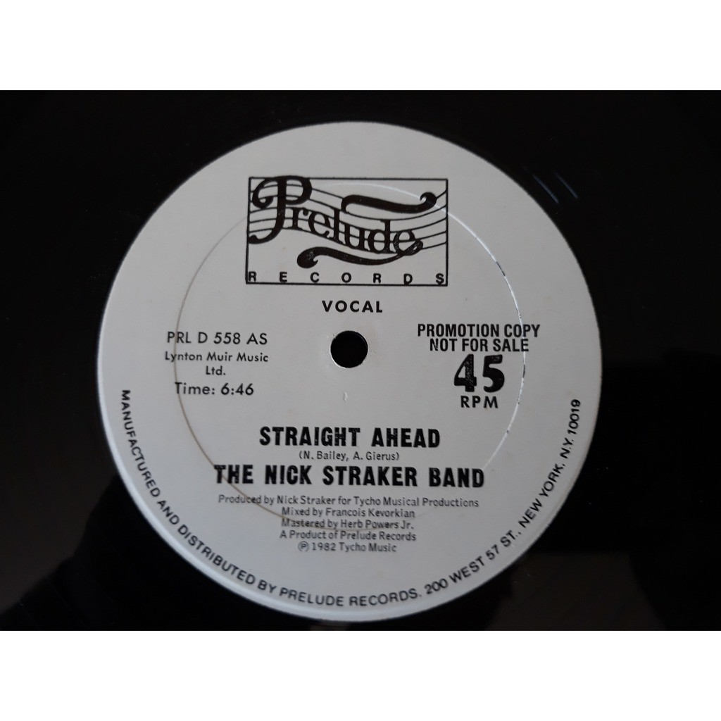 The Nick Straker Band* - Straight Ahead (12, Prom The Nick Straker Band* - Straight Ahead (12, Promo) 1982