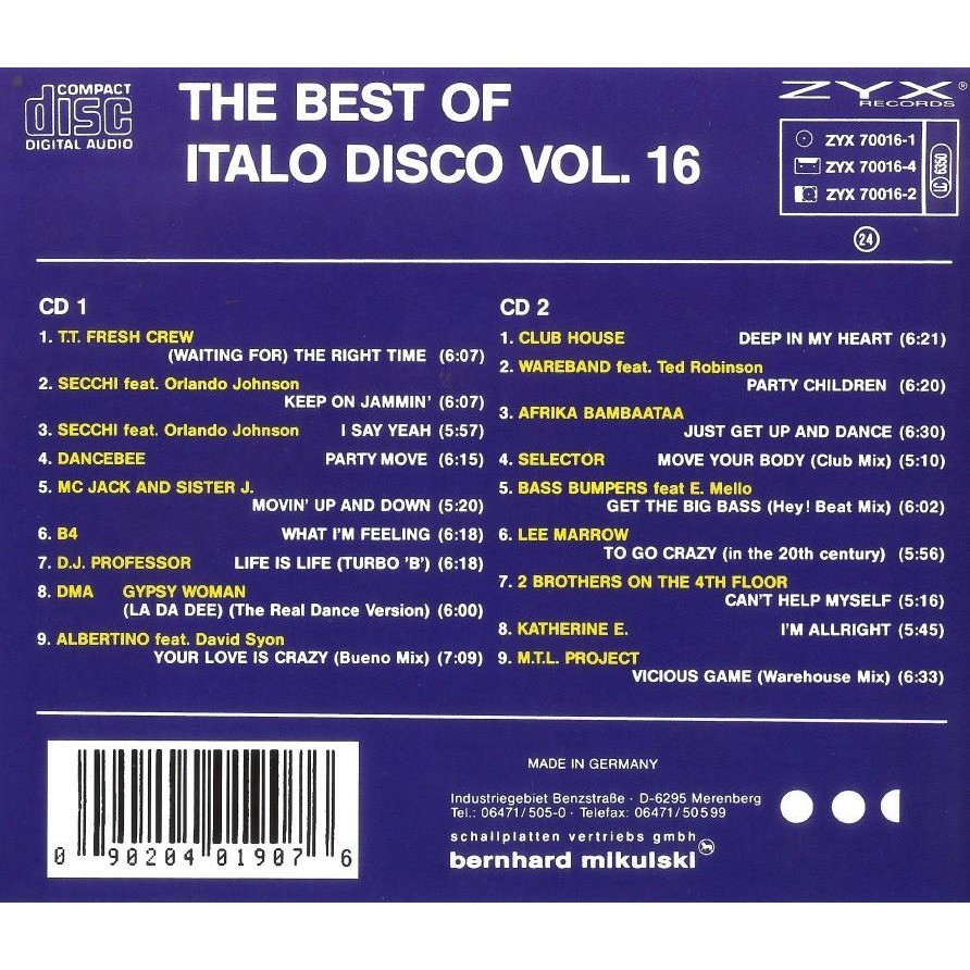 Italo Disco Vol.16 The Best Of 2 CD Worldwide Free Shipping