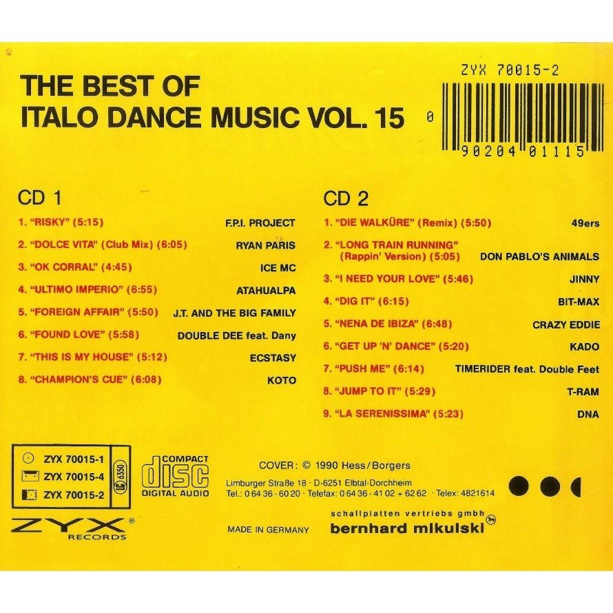 Italo Dance Vol.15 The Best Of 2 CD Worldwide Free Shipping