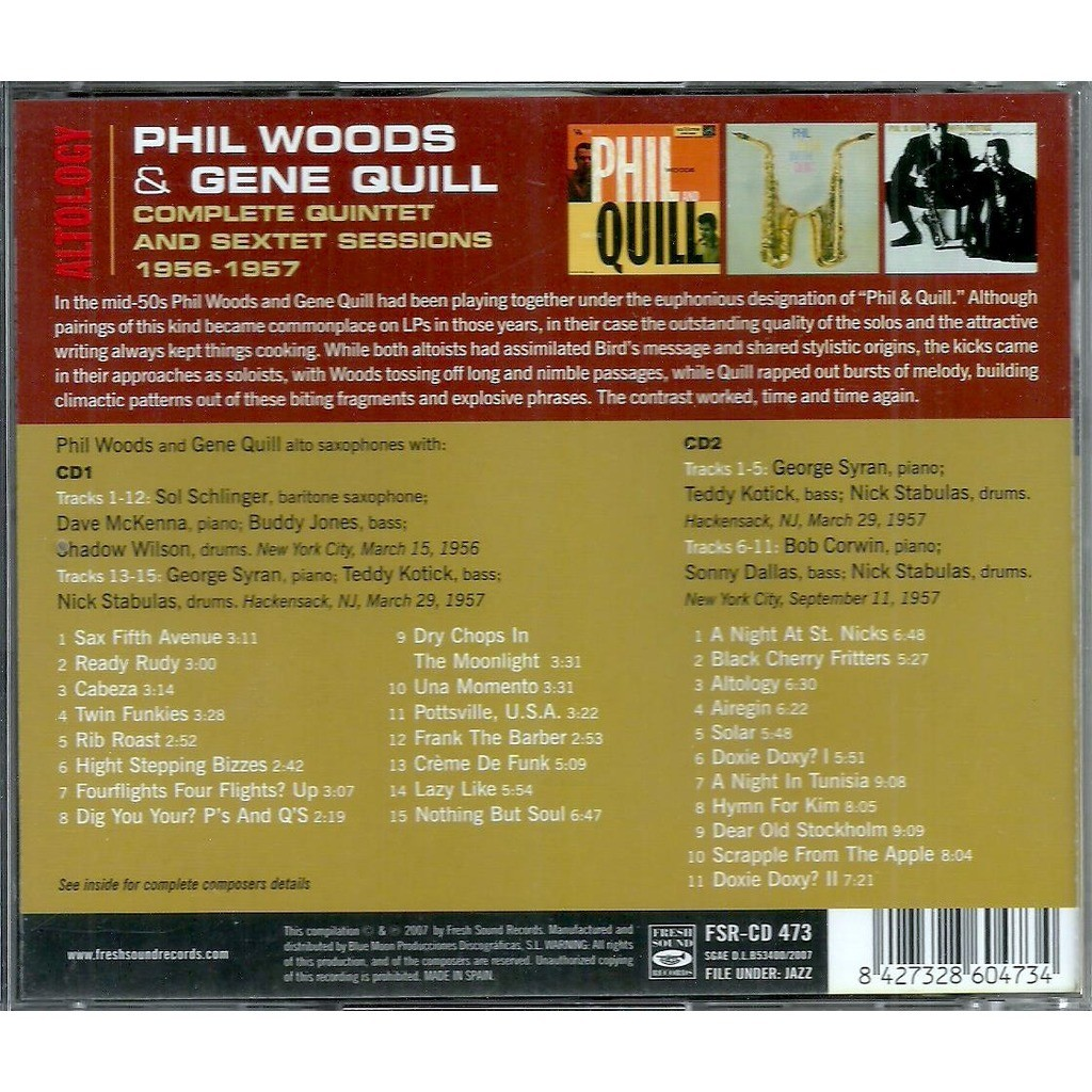 phil woods and gene quill altology / the complete quintet and sextet sessions 1956-1957