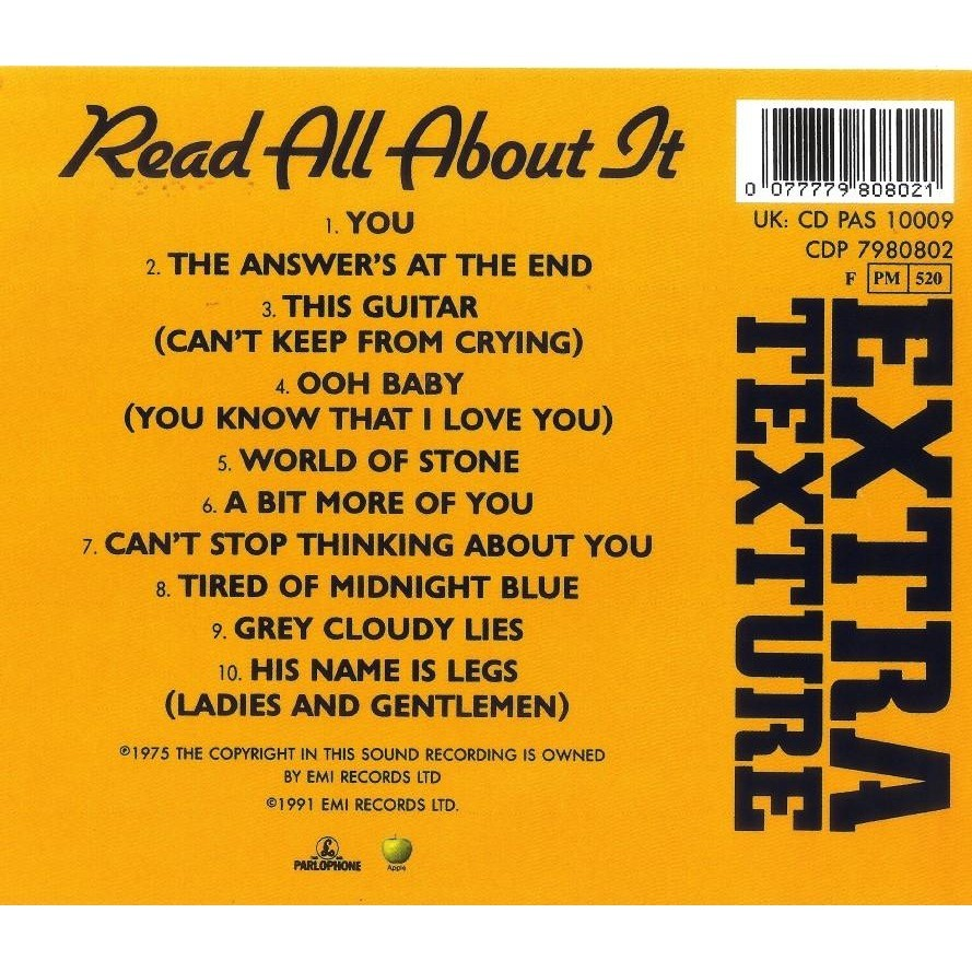 George Harrison Extra Texture Read All About It CD Worldwide Free Shipping