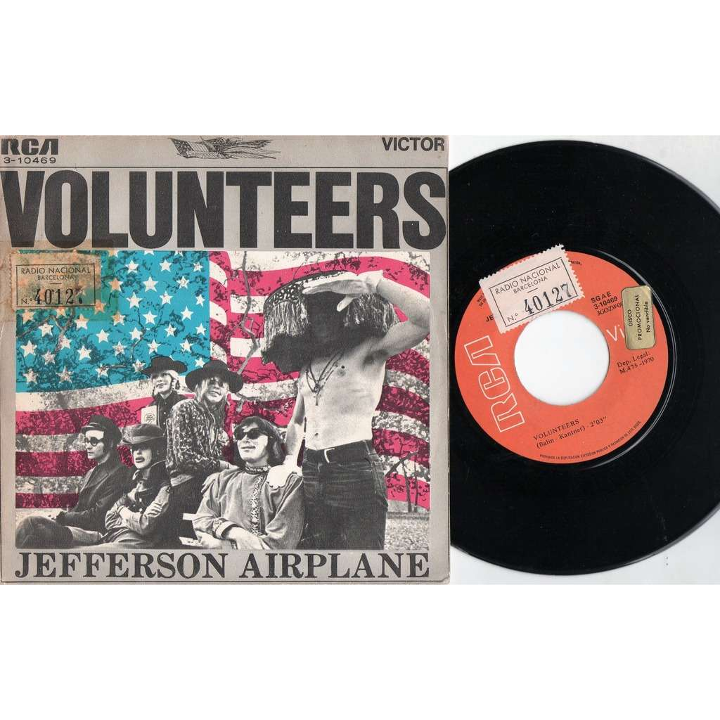 Jefferson Airplane Volunteers (Spanish 1970 original 2-trk promo 7single unique ps)