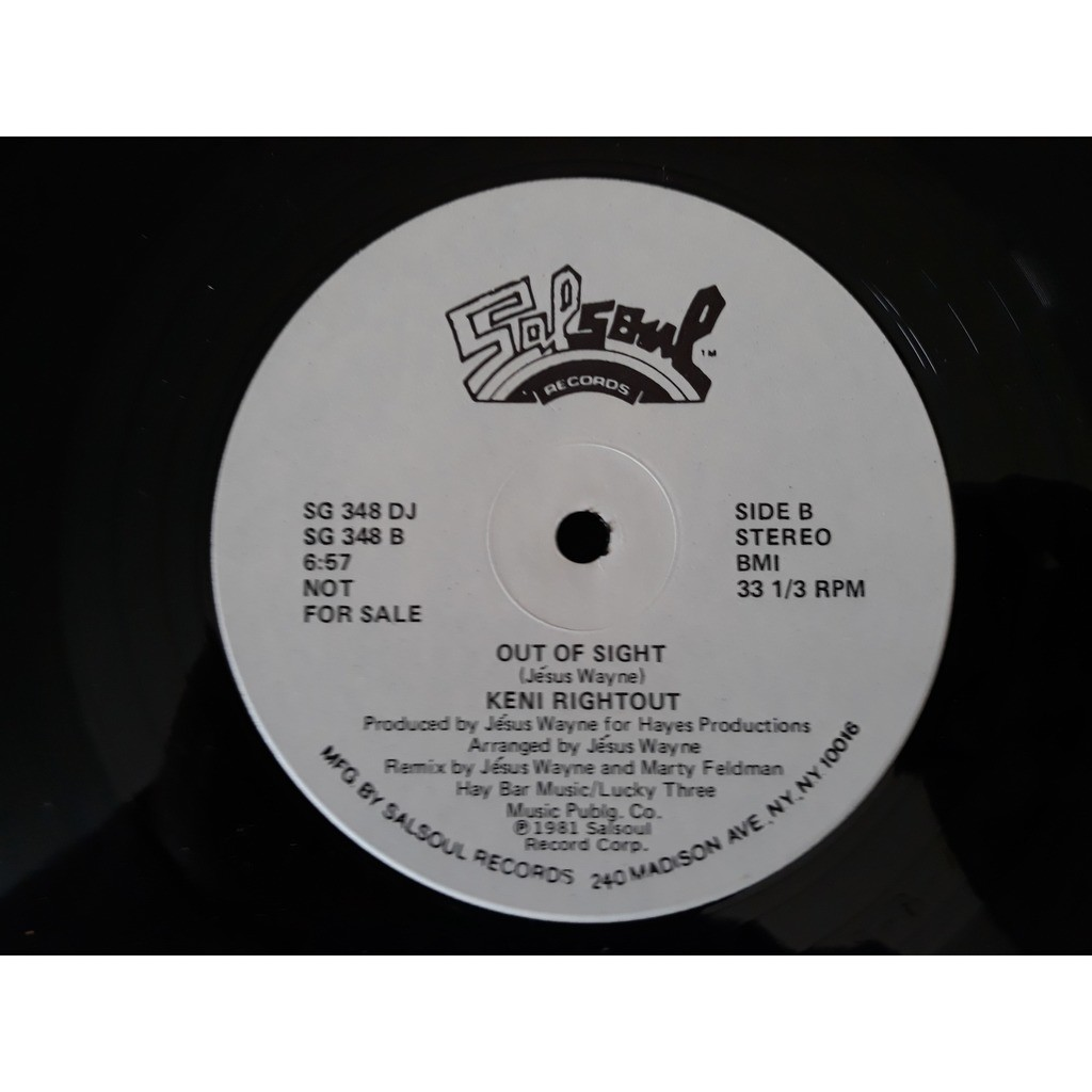 Keni Rightout.. Keni Rightout....Right Now (I Really Feel I Can Change Your Mind) / Out Of Sight (12) PROMO