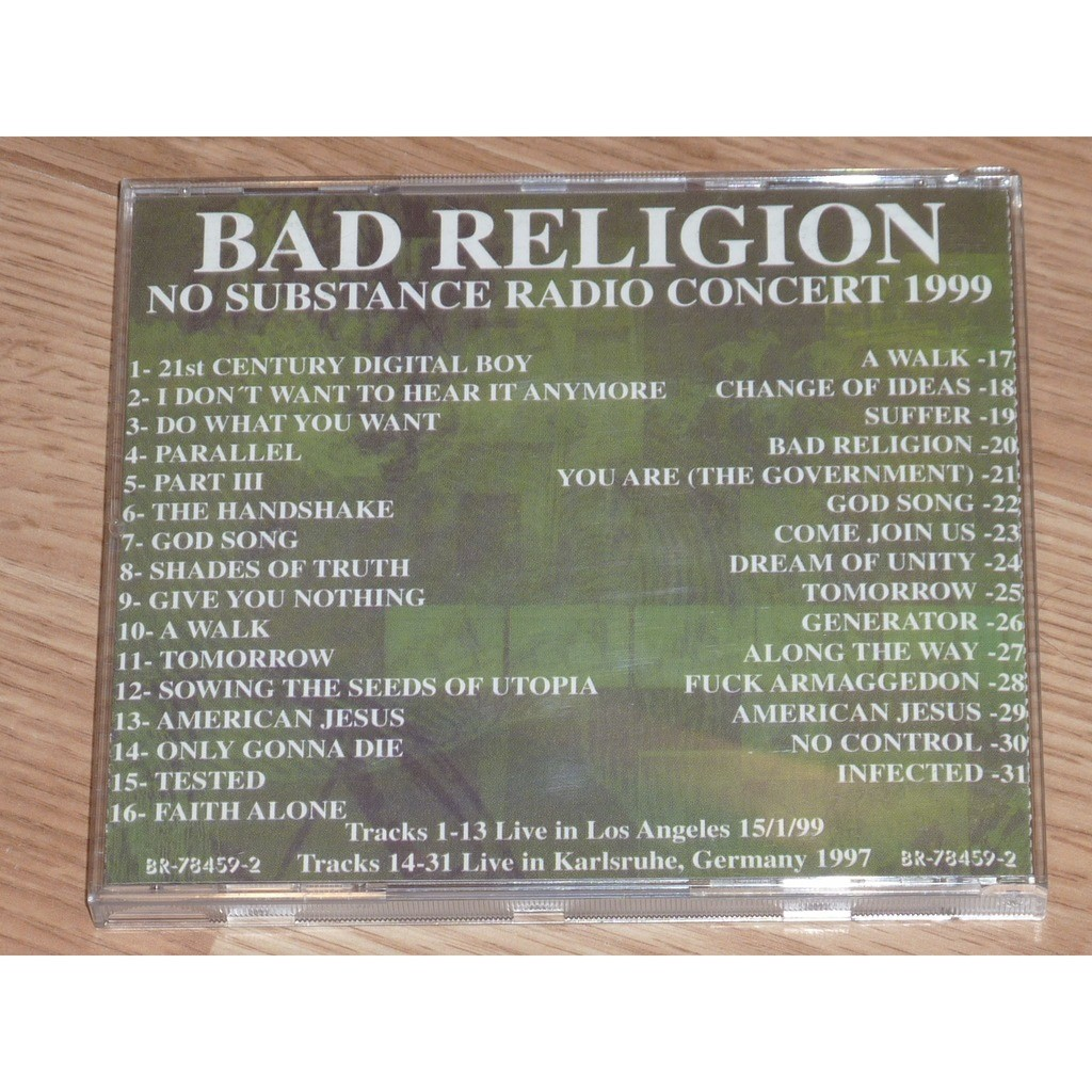 BAD RELIGION NO SUBSTANCE RADIO CONCERT 1999 CD