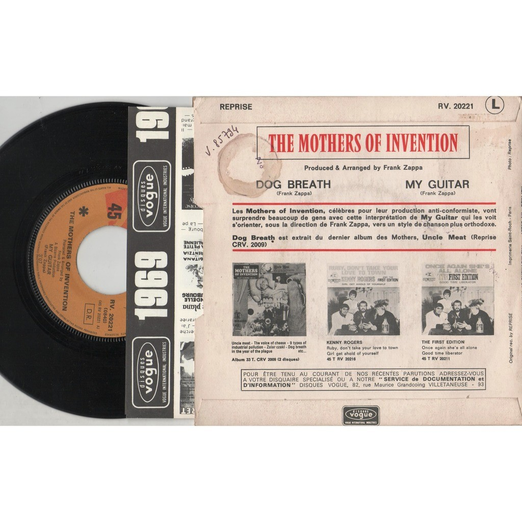 Frank ZAPPA / Mothers of Invention My Guitar (French 1969 original 2-trk promo 7single unique ps+'Vogue' promo insert!)