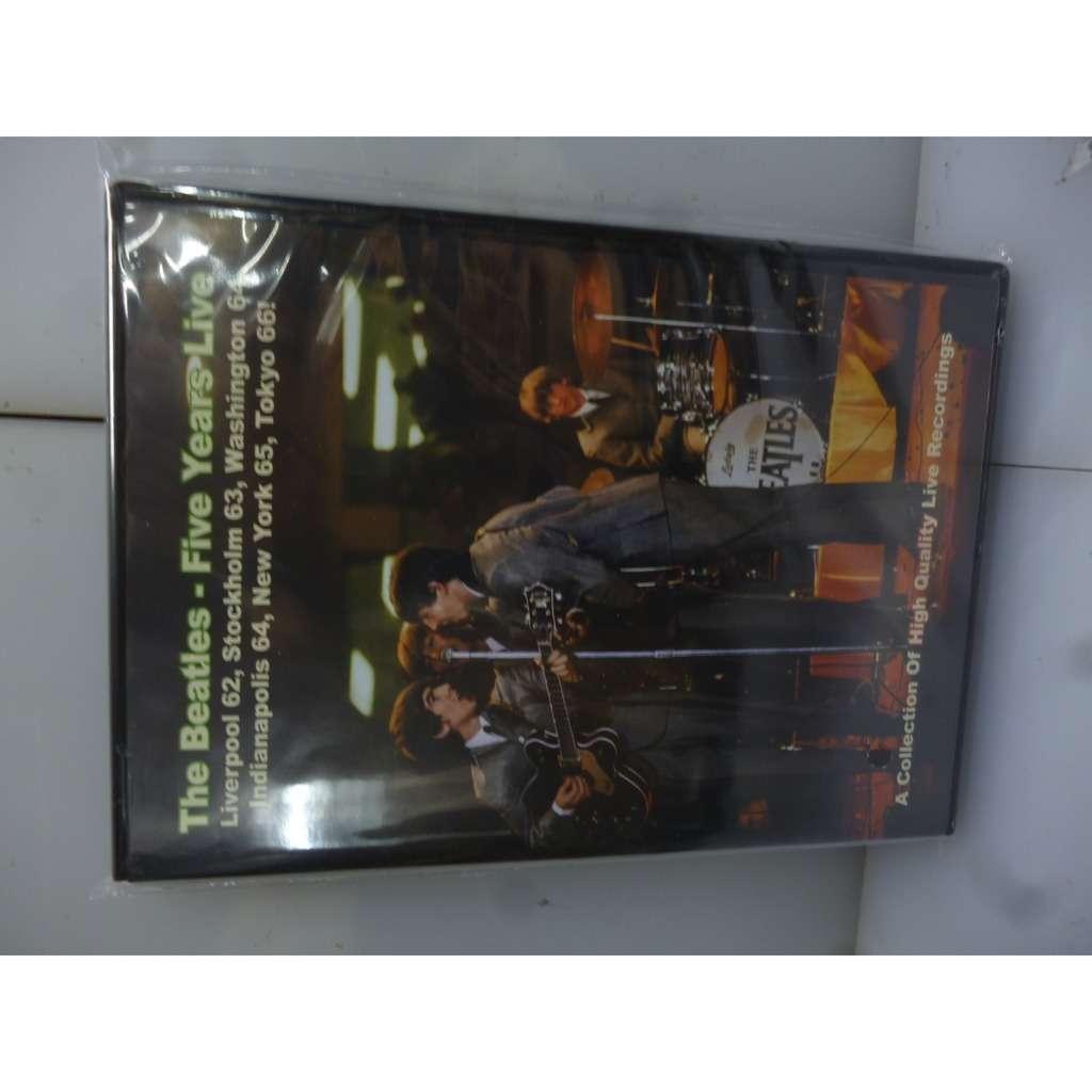 Beatles Five Years Live. Liverpool,Stockholm,Washington,Indianapolis,New York,Tokyo 62+66. EU 2019 DVD+CD